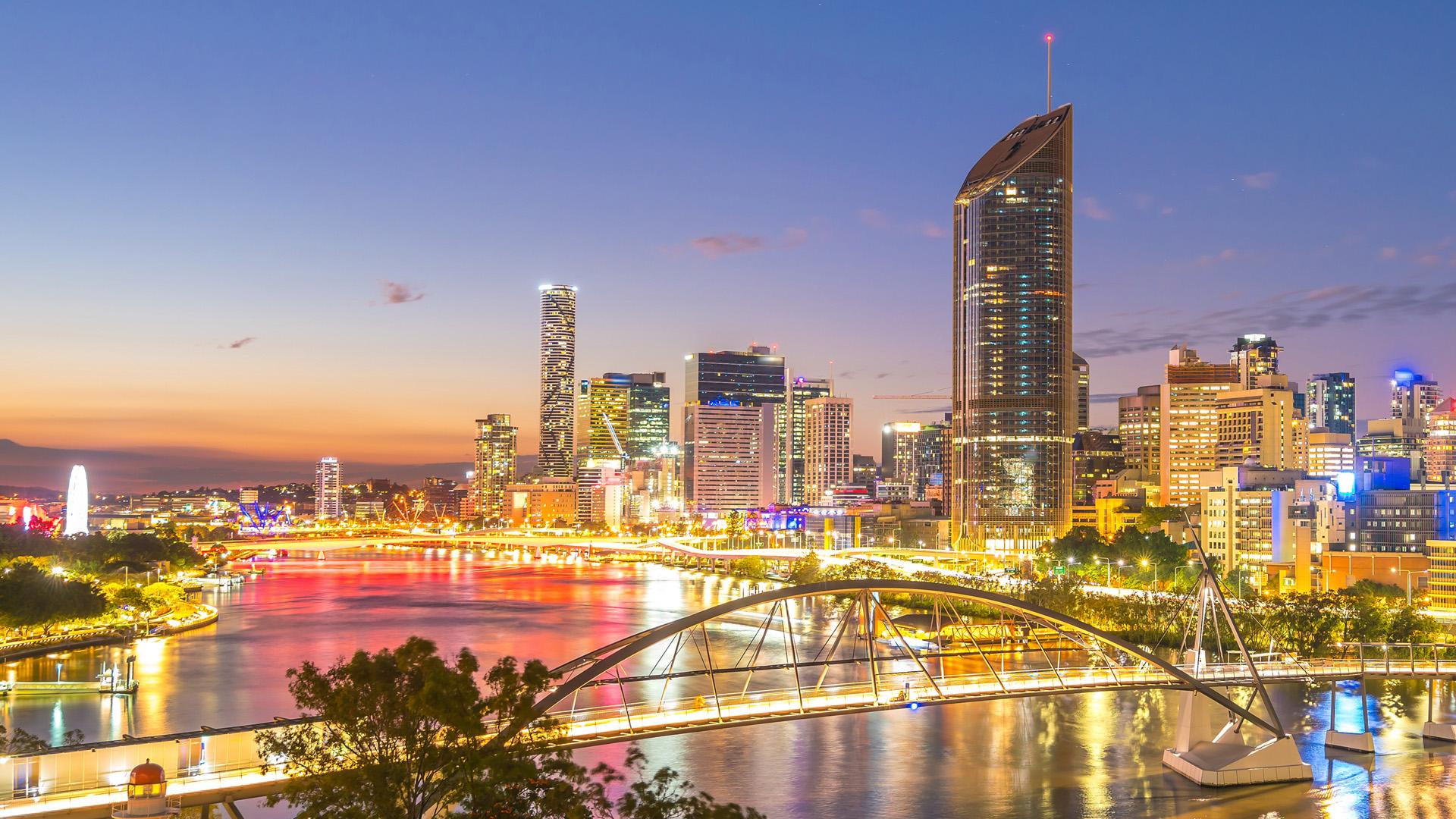 Brisbane city river at night