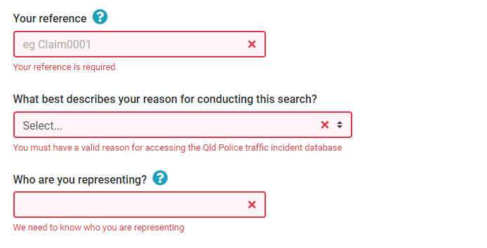 Qld traffic search error messages