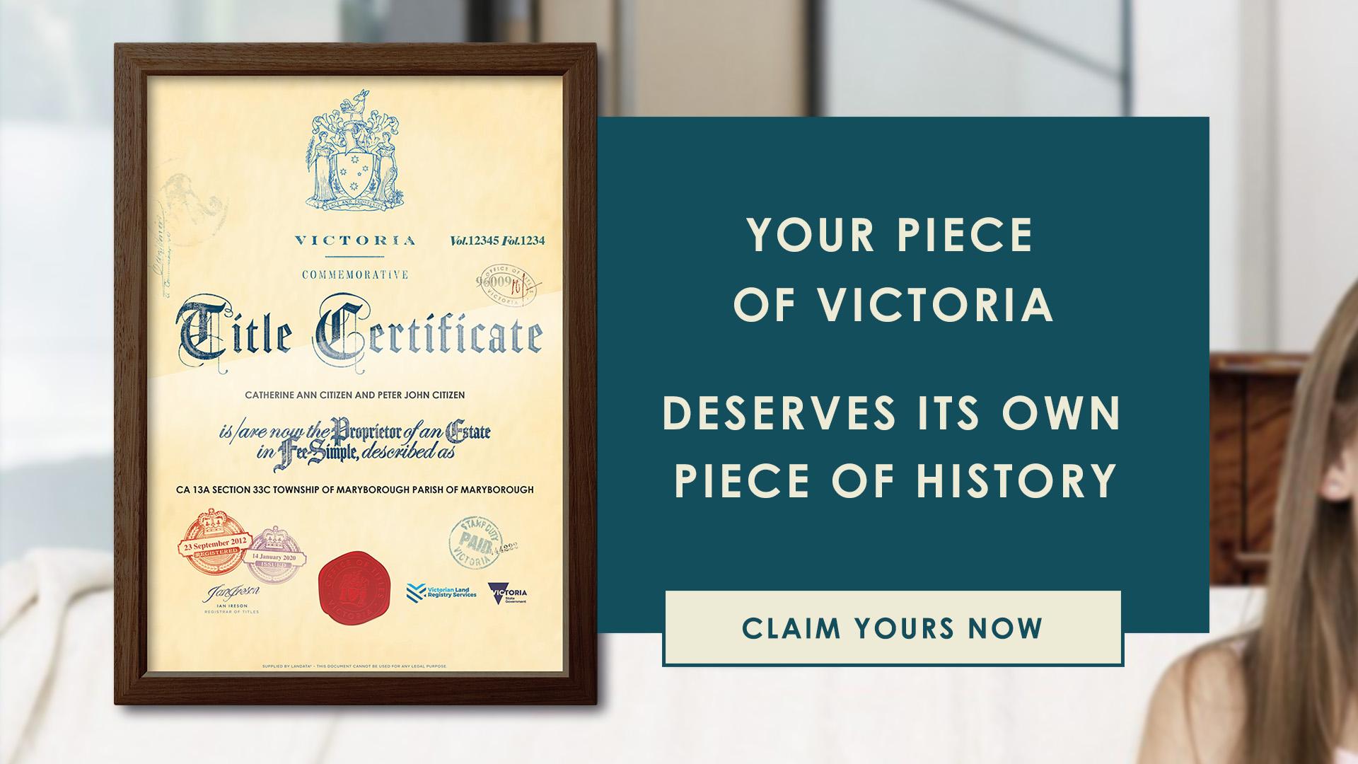 Victorian Commemorative Title Certificate